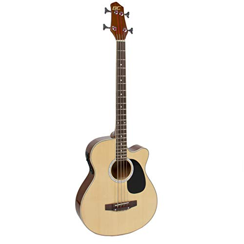 Best Choice Products 22-Fret Full Size Acoustic Electric Bass Guitar w/ 4-Band Equalizer, Adjustable Truss Rod – Natural