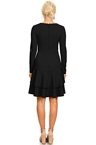 Black USA in Ruffle for Dresses Hem Long Made with Sleeve Cocktail Women PqnvTR4