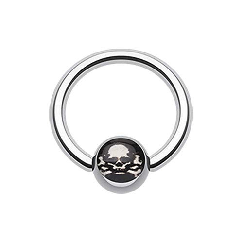 Covet Jewelry Pirate Skull Logo Ball Captive Bead Ring (Size: 16 GA (1.2mm), Length: 3/8