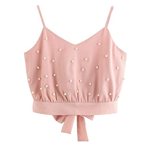 STORTO Womens Vest Chiffon Camisole Sleeveless Tops Solid Pearl Beading Camis Pink