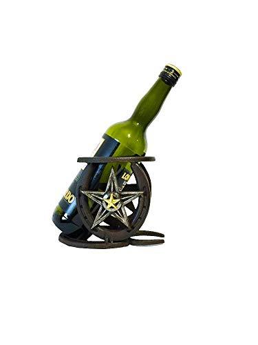 Cast Iron Star Horseshoe Western Style Single Wine Bottle Holder Cowboy Wine Bottle Holder