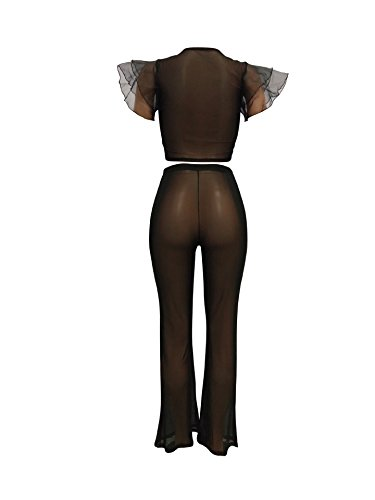 fb1600ade3 Womens Sexy Mesh See Through 2 Pieces Outfits Jumpsuits Crop Tops Mesh Long  Pants Sets