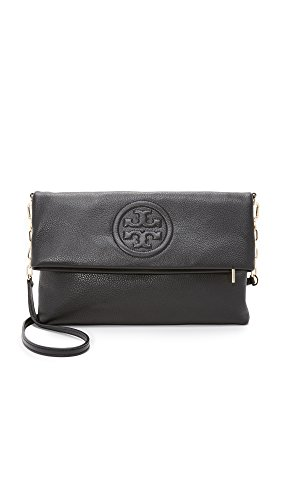 Tory Burch Bombe Fold-Over Clutch Bag Black by Tory Burch (Image #4)