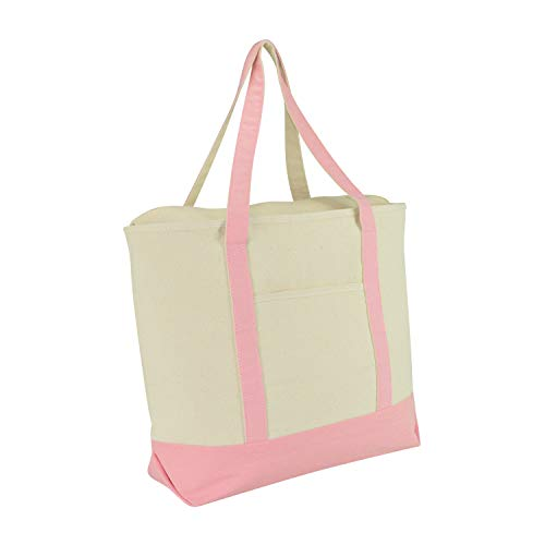 "DALIX 22"" Extra Large Cotton Canvas Zippered Shopping Tote Bag in Pink"