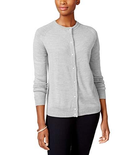 Karen Scott Petite Luxsoft Crew-Neck Cardigan Sweater (Medium Grey Heather, P/S)