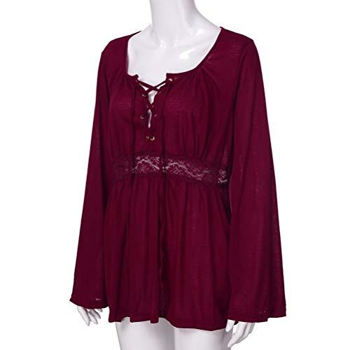 Forti Lunga Camicia Solide Bluse Donna Manica Lunga Camicetta Taglie Camicetta Bende Cotone Donna Casual Vino da e Top Pullover MEIbax Camicie Donna Donna qXU7TTx
