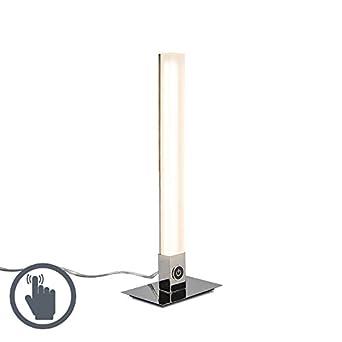 QAZQA Moderno Lámpara de mesa PILLAR blanca Plástico/Metálica ...