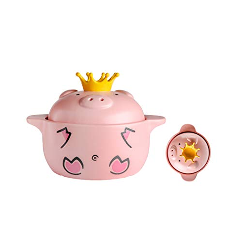 - Pot Casserole/Saucepan, Cute Small Pig Home Kitchen Gas Ceramic Clay Casserole, a Variety of Capacity to Choose Health Casserole (Pink)