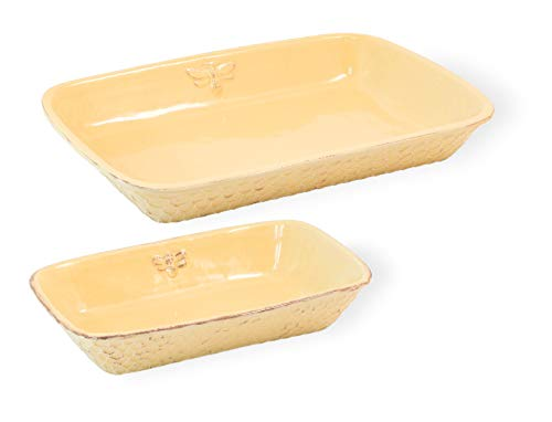 Honeycomb Golden Yellow 15 x 11 Glossy Ceramic Casserole Dishes Set of 2