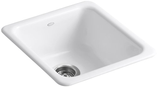 KOHLER K-6584-0 Iron/Tones Self-Rimming Undercounter Kitchen Sink, White