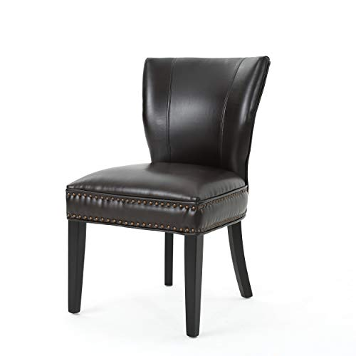 George Dining Chair Brown Bonded Leather Wing Back Design Nail Head Stud Accents Single Chair