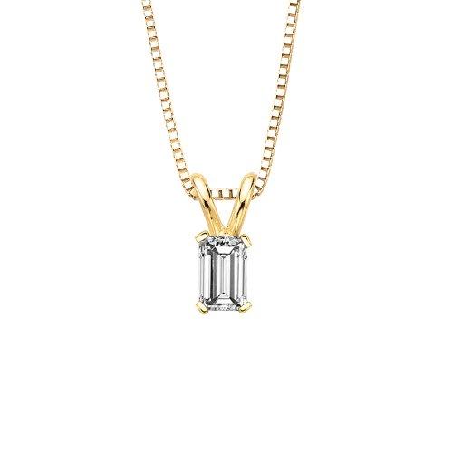 7/8 ct. H - VS2 Emerald Cut Diamond Solitaire Pendant Necklace in 14K Yellow Gold ()