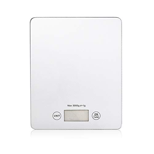 WEELAND 11lb/5kg Digital Kitchen Scale Food Scale Gram Electronic Scale Kitchen Weighing Scale Baking and Cooking Scale (Silver)