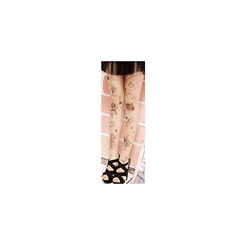 Trendy Sexy Tattoo Pattern Temptation Sheer Pantyhose Tights Stockings Design:Alice in Wonderland (Alice In Wonderland Tights)
