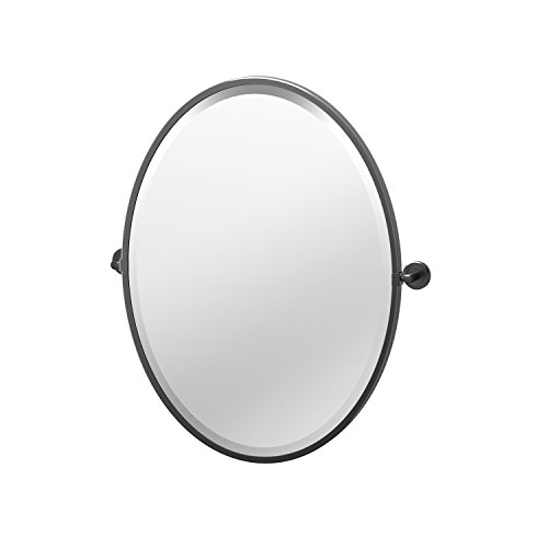(Gatco 4249MXF Framed Oval Mirror, 27.5 Inch, Matte Black)