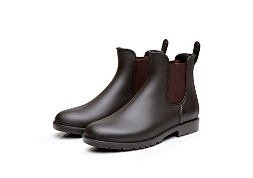 Rain Boots Brown Rubber (Mini Balabala Women's Short Ankle Rain Boots Slip On Waterproof Chelsea Booties Lightweight Rubber Rain Boots Brown Size 8)