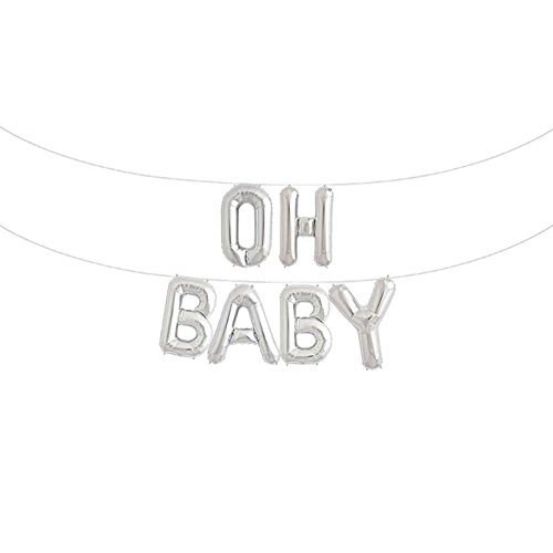 OH BABY 16 Inches Foil Letter Balloons Banner Birthday Party Baby Shower Decoration,Silver