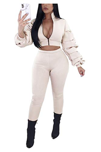Women Jogging Suit Set - Casual 2 Pieces Outfits Long Sleeve Zipper Jacket and Pants Set Tracksuit Bodycon Jumpsuit Romper Beige, XX-Large
