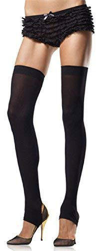 Opaque Stirrup - Ladies Sexy Black Luxurious Opaque Stirrup Thigh High Stockings Hold Ups Lingerie Fashion