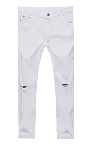 Girls Fashion Skinny Fit Jeans Distressed Ripped Hole Denim Pants White 7t (Girls Skinny Jeans)