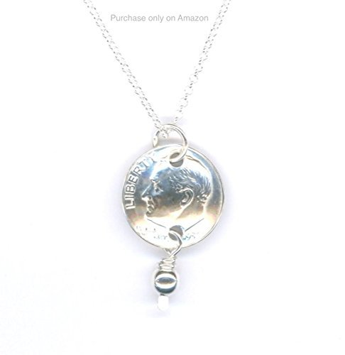 65th Birthday Jewelry Gifts Ideas For Women 1953 Dime Pendant Sterling Chain Necklace