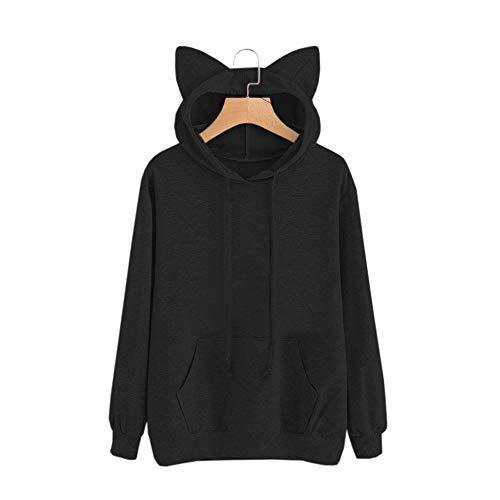 Moda cappuccio Camicetta Sleeve Cat Pullover Lady Overdose Donna Felpa Top O Long Top Autunno black con wP8Iqg0