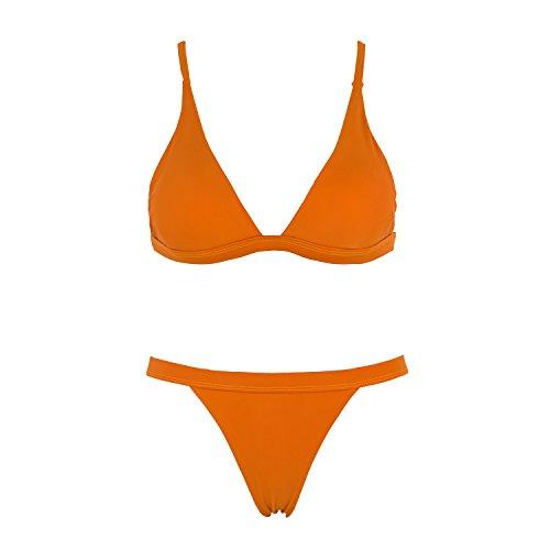 X-HERR Mujer Triángulo Top Fondo Brasileño Trajes de baño Bikini Amarillo