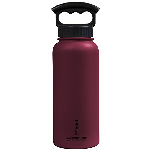 FIFTY/FIFTY Vacuum-Insulated Stainless Steel Bottle with Wide Mouth - 34 oz. Capacity - Burgundy