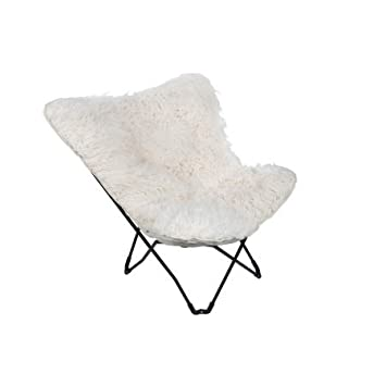 Soft White Plush Faux Fur Fabric Butterfly Chair