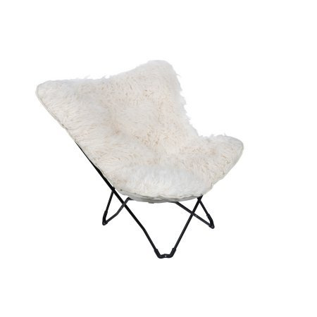 Plush Folding Chair faux fur fabric Butterfly (Soft White)