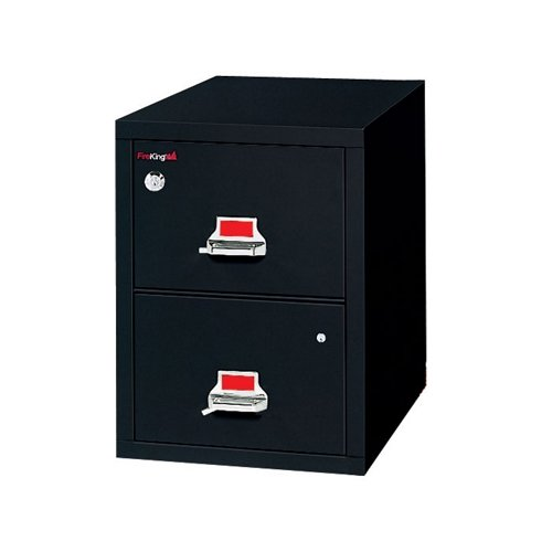 Fireproof Single Drawer Vertical File with Safe 32''D Black by Fire King