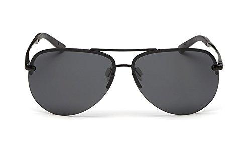 Flowertree® Unisex SA336 Metal Double Bridge Rimless Aviator Polarized Sunglasses (black+grey, - D&g Glasses Rimless