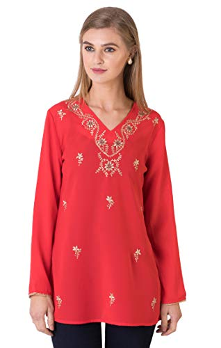 Indigo Paisley Aurora Womens Full Sleeve Tunic with Allover Embroidery (M, Jester Red) ()
