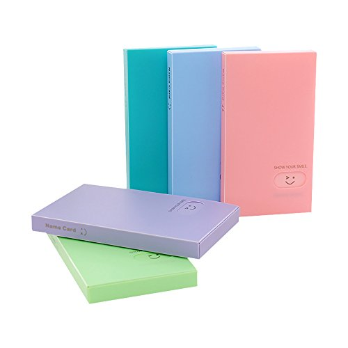 Zhi Jin 1Pc Candy Color Smile Business Name Card Holder Book Credit Cards Organizer Display Case 24 Card Slots -