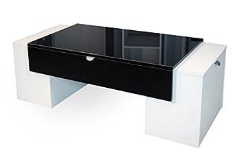 Berlioz Creations Lucky Table Basse Noir Brillant Blanc 123 X 55 X