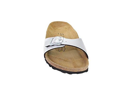 JOE N JOYCE Damen Porto Soft-Fußbett Metallic Synsoft Sandalen Pantoletten, Silber, 39 EU-Schmal