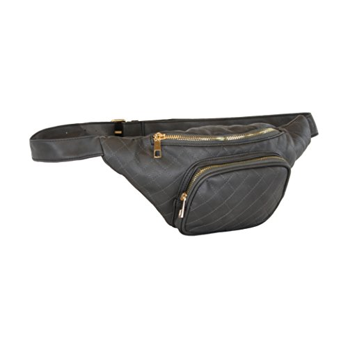 Grey Quilted Multi Pocket Fanny Pack, Faux Leather Waist Pack w/ Buckle