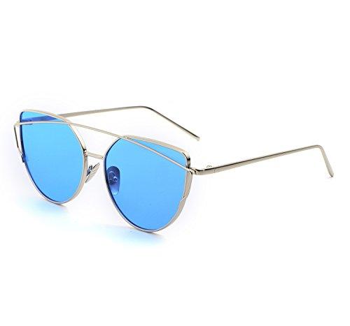 YANQIUYU Stylish Metal Frame Cat Eye Sunglasses for Women Mirrored Flat Lens (Ice Blue Lens/Silver Frame, - Glasses Korean