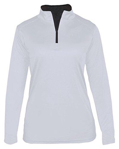 Badger Women's 1/4 Zipper Sports Open Bottom Fleece pullover, L, (0.25 Zippers Fleece)