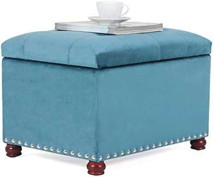 Furnistar 24 Rectangular Tufted Velvet Storage Ottoman Bench Blue