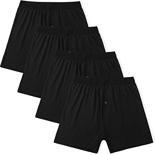 (Innersy Men's Boxer Button Fly 100% Cotton Knit Underwear 4-Pack (L, 4 Black))
