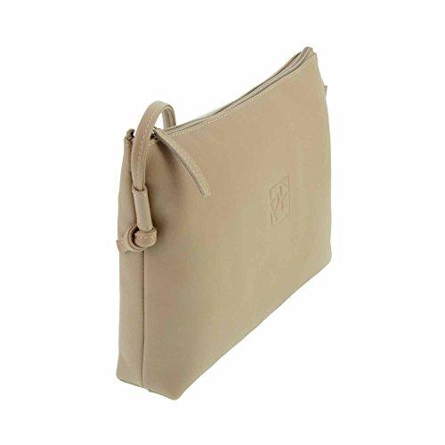 borsa a tracolla in pelle con cerniera dietro Misure: U Colore: BEIGE