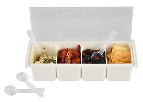 - HOME-X 4 Compartment Condiment Serving Tray, Topping Holder with Lid and Mini Spoons