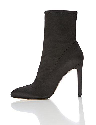 Heel FIND Upper Women's Black Stiletto Satin Boots Stretch rY8q67r