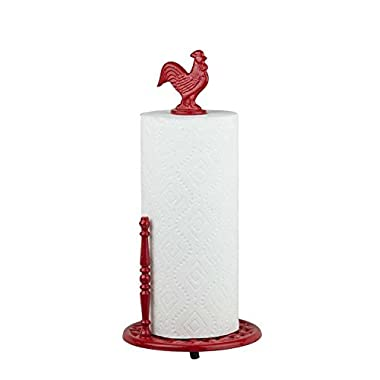 Home Basics Cast Iron Rooster Paper Towel Holder, Red