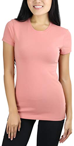 Rose Yellow T-shirt - ToBeInStyle Women's Slim Fit Crew Neck S.S. Longline Tee - Ash Rose - Medium
