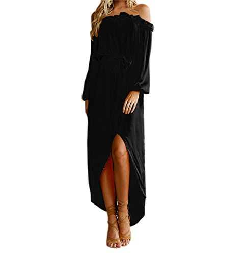 ANNACHRIS-Womens-Solid-Color-Off-Shoulder-Long-Sleeve-Maxi-Dress-with-Slit-Black-XS