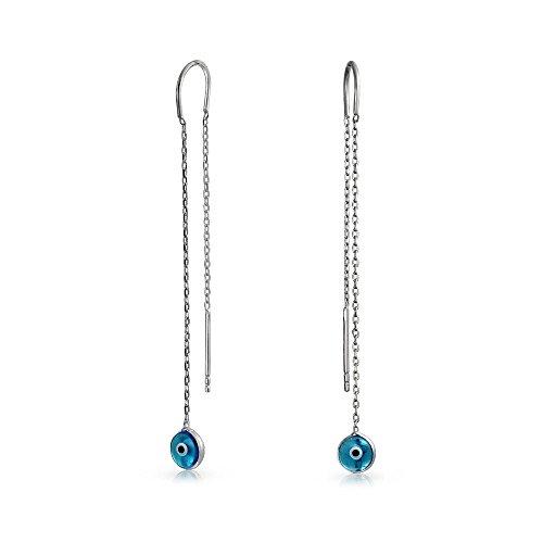 - Blue Nazar Evil Eye Murano Glass Spiritual Thin Chain Threader Earrings For Women For Teen 925 Sterling Silver