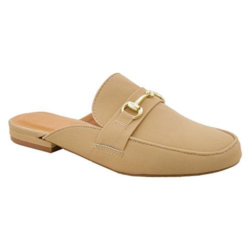 Slip Women Loafer SNJ Slide Shoe Natural 1 Flat Sandal On Oxford Mule Nubuck xIqqOSd