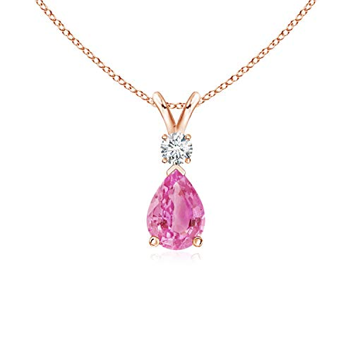 Pink Sapphire Teardrop Pendant with Diamond in 14K Rose Gold (7x5mm Pink Sapphire)